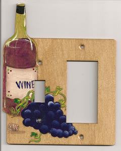 Wine bottle and grapes switch and rocker right switch plate cover