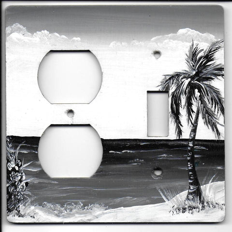 Sepia Black & White Palm Scene Switch and Plug Left