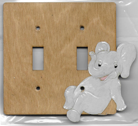 Baby Elephant double switch plate
