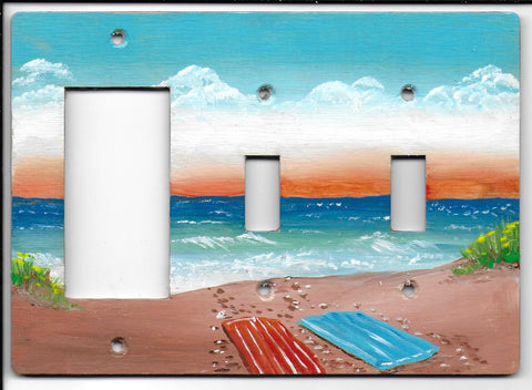 Beach scene double switch Rocker- Gfi left
