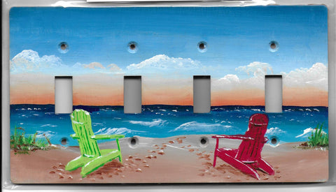 Beach Scene four switch plate cover