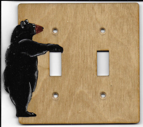 Bear double switch plate cover