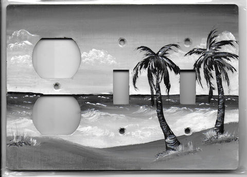 Sepia Palm Tree scene black and white two switches one plug Left switch plate cover