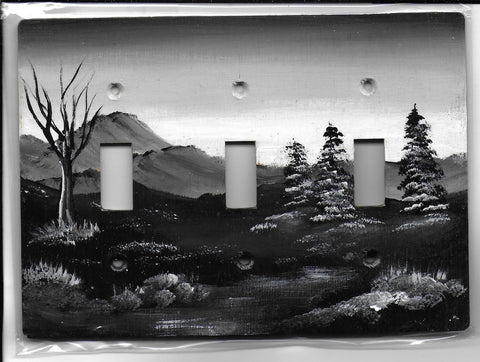 Sepia Landscape scene black and white three switch place cover