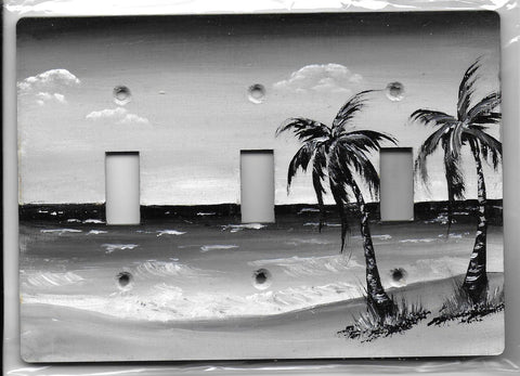 Sepia Palm tree seascape black and white three switch place cover