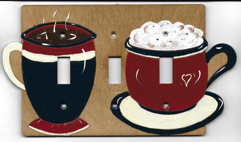 Cappuccino-latte triple switch plate cover
