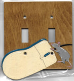 Computer Mouse double switch wooden plate cover