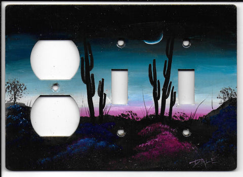 Desert Sunrise scene double Switch Plug left