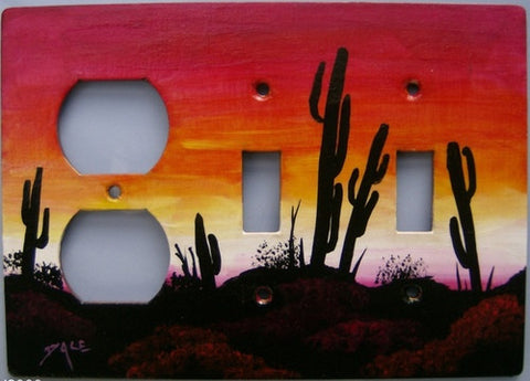 Desert Sunset 2 switch, 1 plug left side switch plate