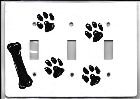 Dog Prints and Bone triple switch plate cover fully painted