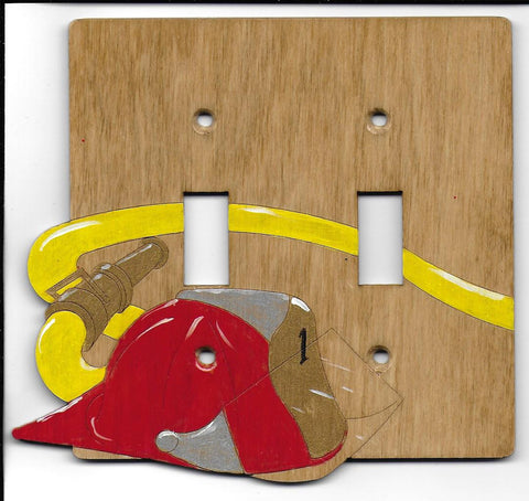 Fire hat and hose double switchplate cover