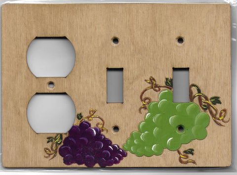 Grapes double switch one plug left combination switchplate