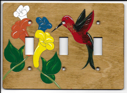 Hummingbird triple switch plate cover