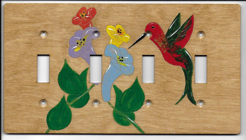 Hummingbird four switch switchplate cover