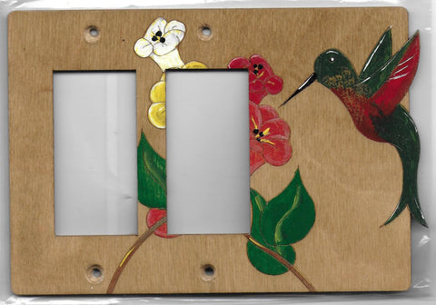 Hummingbird double Rockers left wooden switch plate covers