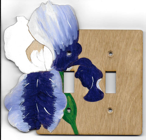Iris flower double switch plate