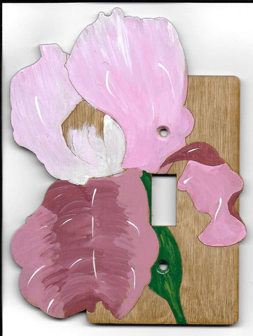 Iris flower single switch plate cover