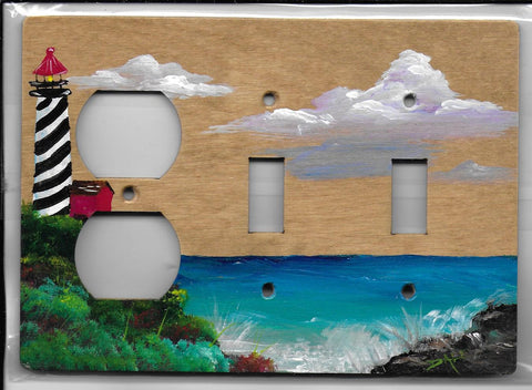 Landscape Light house hand painted 2 switch plug left switch plate cover