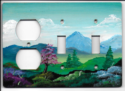 Landscape scene double Switch Plug left