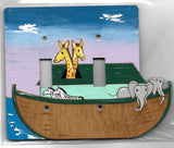 Noah's ark double full paint switch plate cover
