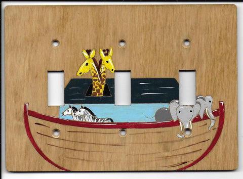 Noah's ark triple switch plate cover