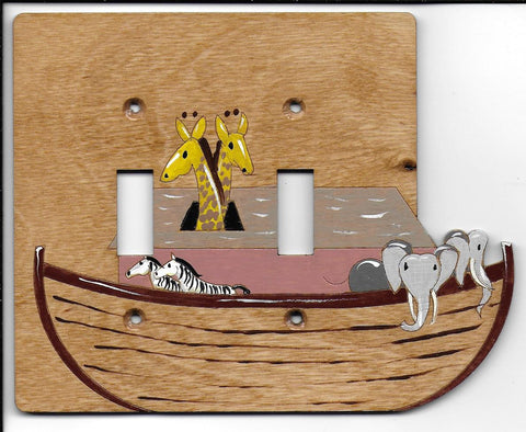 Noah's ark double switch plate cover