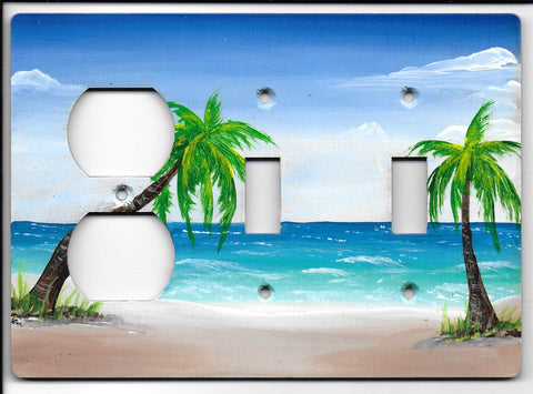 Palm Tree two switches one plug Left side switch plate cover
