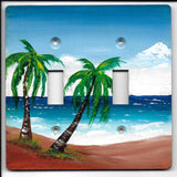Palm Tree seascape double switch plate cover