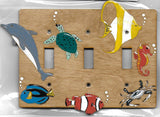 Sea Creatures 3 switch wooden plate cover, designed and hand painted