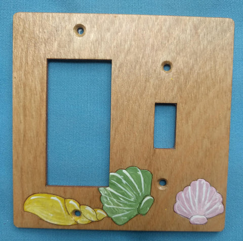 Seashell single switch and rocker left switch plate cover