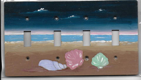 Seashell Four Switch plate cover full painted