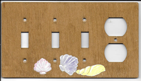 Seashell three switch one plug right combination switch plate cover