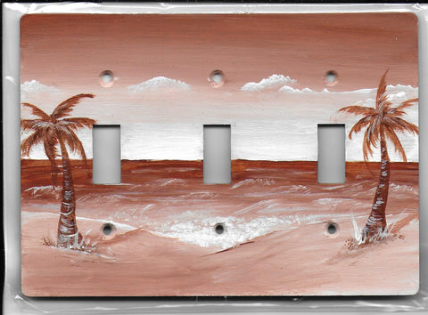 Sepia Palm Tree sea scape brown and white three switch place cover