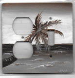 Sepia Palm tree Scene brown and white Switch and Plug Left