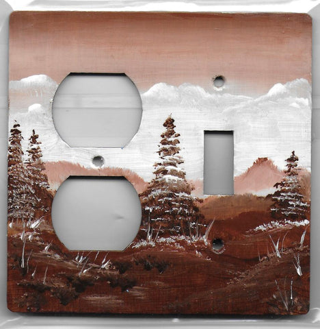 Sepia Landscape Scene brown and white Switch and Plug Left