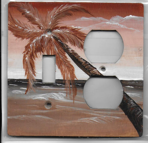 Sepia Palm tree Scene brown and white Switch and Plug Right