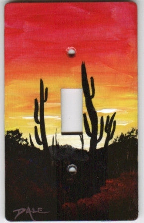 Desert Sunset landscape scene single switch plate cover