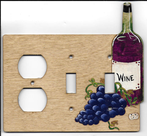 Wine bottle and grapes double switch right plug left switch plate cover