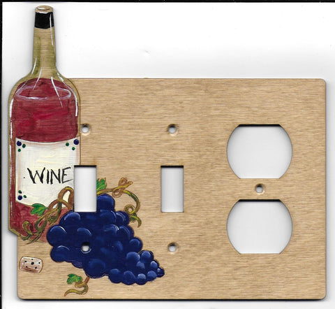 Wine bottle and grapes double switch left plug right switch plate cover