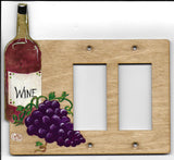 Wine bottle and grapes double rocker right switch plate cover