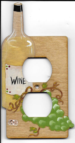 Wine bottle and grapes single Outlet Switch plate cover