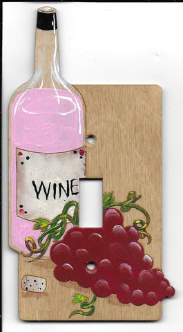 Wine bottle and grapes Single wooden Switch plate cover