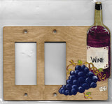 Wine bottle and grapes double rocker left switch plate cover
