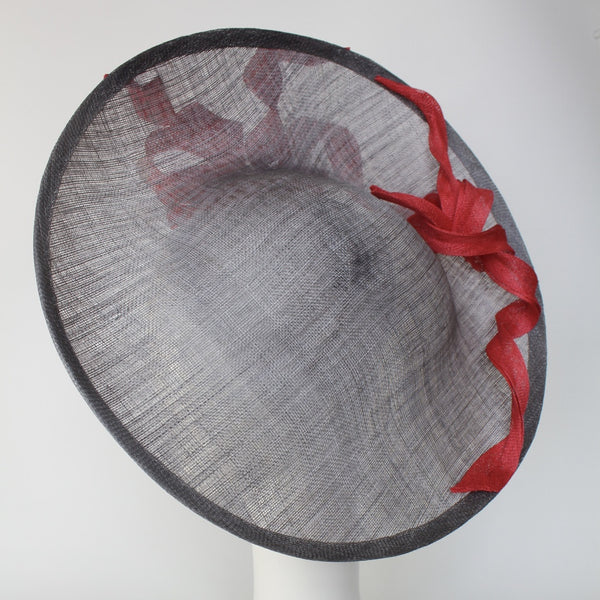 grey and coral large mother of the bride Royal Ascot hat
