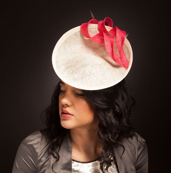 Ivory and pink saucer hat for Royal Ascot or wedding