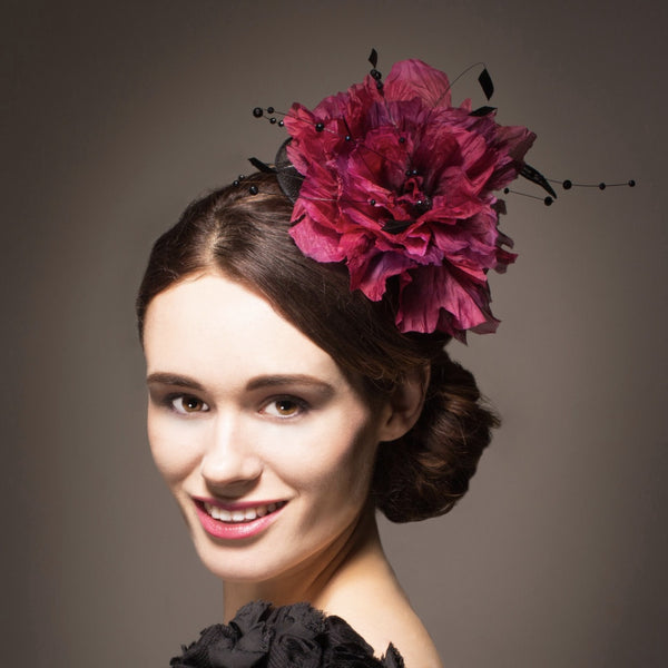 Large pink silk flower fascinator