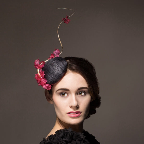 Button hat fascinator with pink blossom