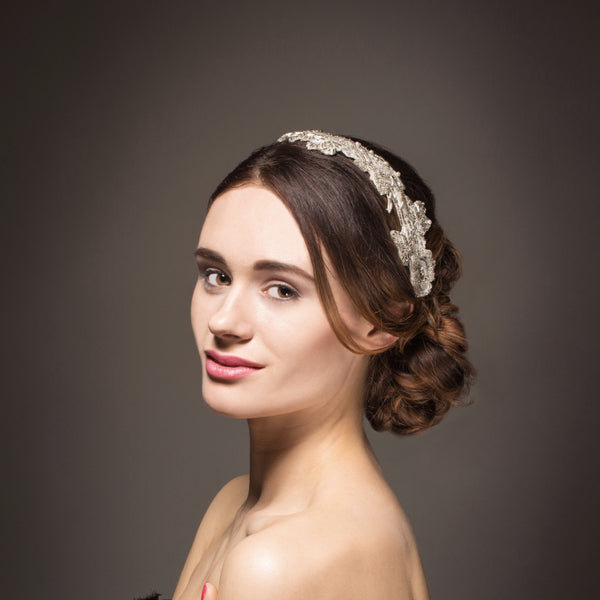 Ivory beaded vintage lace bridal headband with pearls