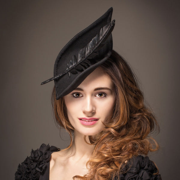 Unique black hat with gem encrusted feather
