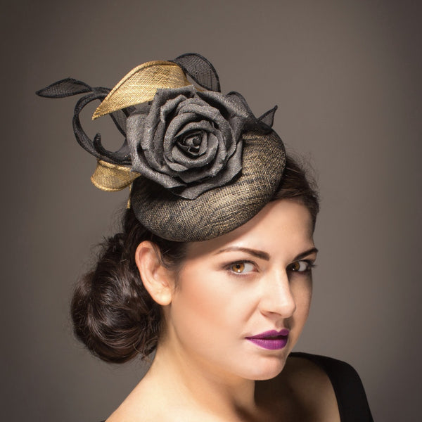 Grey and gold hat with large silk rose